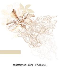 Hibiscus flowers & vintage ornament. Bitmap copy my vector ID 27131506
