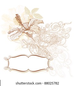 Hibiscus flowers & vintage ornament. Bitmap copy my vector ID 27131509