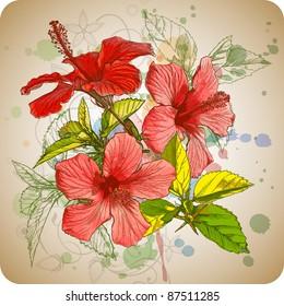 Hibiscus flowers & watercolor background. Bitmap copy my vector 73544260