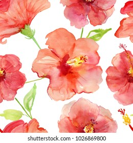 Hibiscus flowers.  Watercolor seamless floral pattern