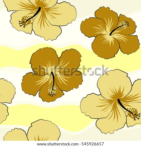 Hibiscus Flowers Yellow Colors Watercolor Painting Stock