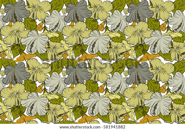 Hibiscus in green and yellow colors on a white background. Aloha hawaiian shirt raster seamless pattern.