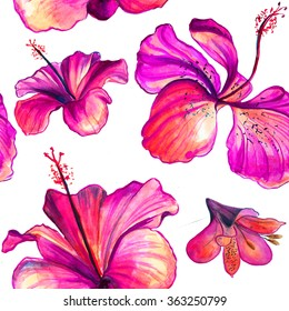 Hibiscus and lilac and rose flowers  bright seamless pattern