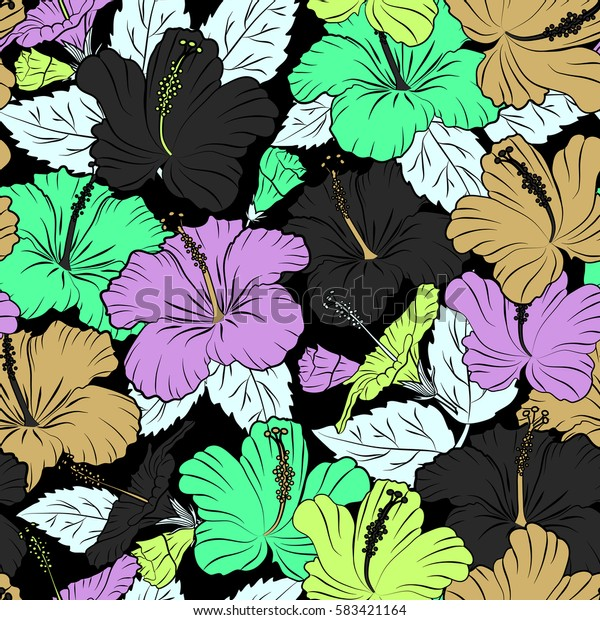 Hibiscus pattern on a black background. Seamless tropical flowers in green and gray colors.