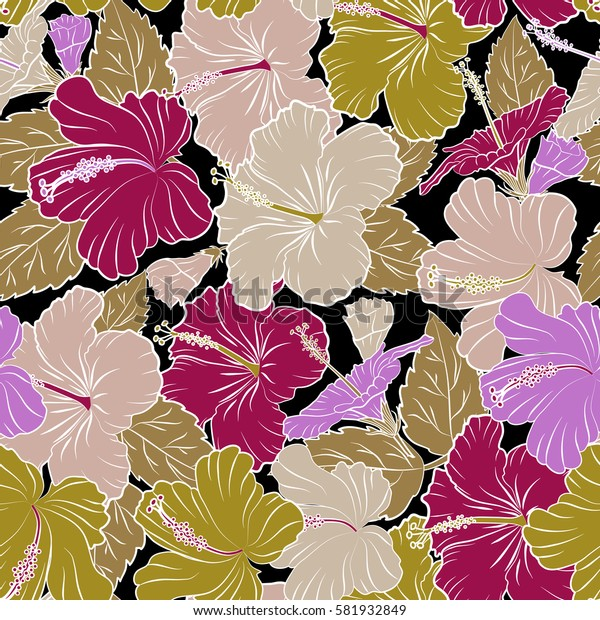 Hibiscus in purple, beige and violet colors on a black background. Aloha hawaiian shirt seamless pattern.