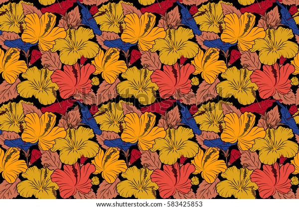 Hibiscus raster pattern on a black background. Seamless tropical flowers in orange, red and yellow colors.