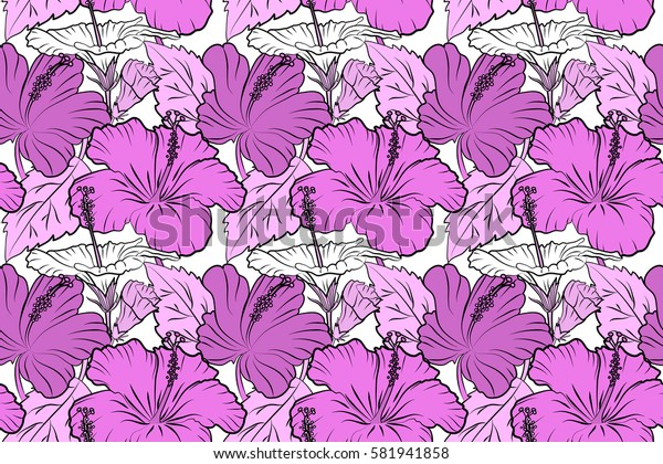 Hibiscus raster pattern on a white background. Seamless tropical flowers in violet, pink and white colors.