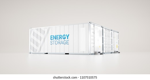 hi-capacity battery energy storage facility made of industrial shipping containers. 3d rendering.