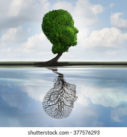 Hidden depression concept and private feelings symbol as a tree with leaves shaped as a human head with a reflection on water with an empty plant as internal psychology idea for concealed emotions.