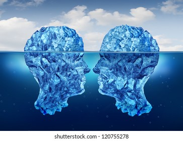 Hidden relationship and secret partnership as two icebergs shaped as human heads face to face concealed underwater as a clandestine meeting.
