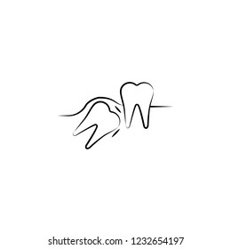 hidden teeth icon. Element of dantist for mobile concept and web apps illustration. Hand drawn icon for website design and development, app development