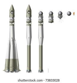 Hi-detailed space rocket R7 with first spaceship Vostok. Vector version see in my portfolio