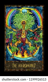 Hierophant. Major Arcana tarot card. The Magic Gate deck. Fantasy graphic illustration with occult magic symbols, gothic and esoteric concept