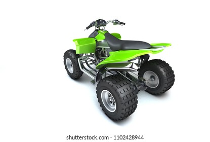 High angle rear view of powerful green ATV quadbike isolated on white background. Perspective. 3D render.