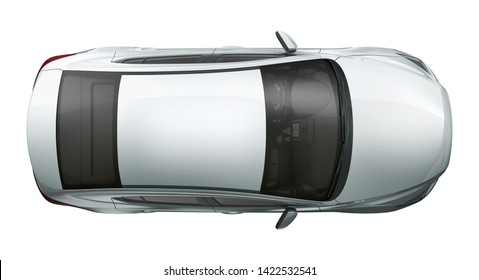 High angle view of the top of a Compact  car  - 3D Illustration