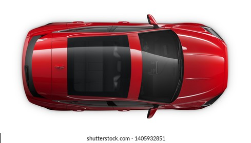 High angle view of the top of a red Subcompact  Suv - 3D Illustration