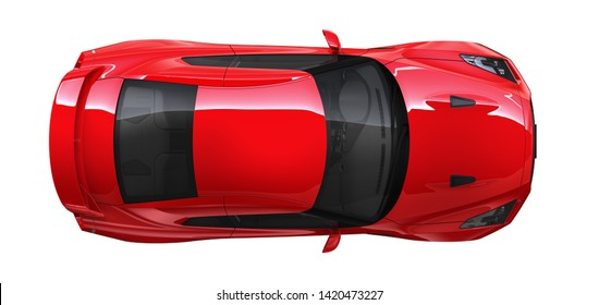 High angle view of the top of a red coupe car  - 3D Illustration