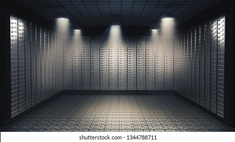 High contrast image of the inside of a bank vault filled with security boxes. 3D illustration/ rendering