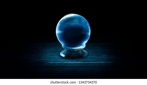 high contrast image of a Magic crystal ball used for psychic readings in a dark background.  3D illustration, rendering