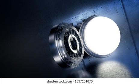 high contrast image of an open bank vault door. 3D rendering / illustration