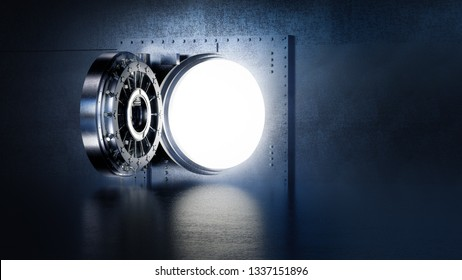 high contrast image of an open bank vault door. 3D rendering / illustration