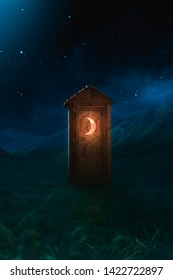 High contrast image of an outhouse or latrine at night. 3D rendering, illustration