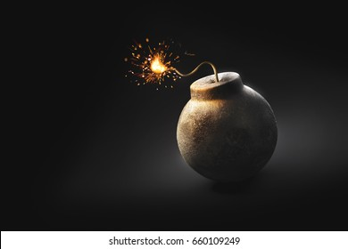 high contrast image of a round bomb with lit fuse on a dark background. /3D Rendering