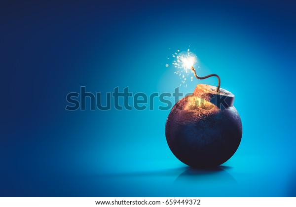 high contrast image of a round bomb with lit fuse on a blue background. /3D rendering