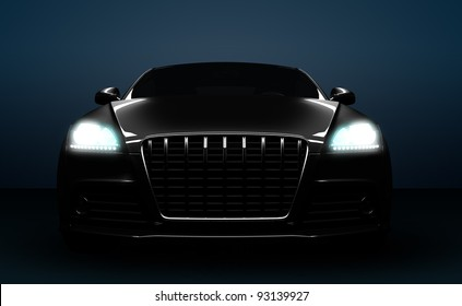 High detail computer render of a front of a car.
