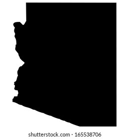 High detailed black illustration map - Arizona