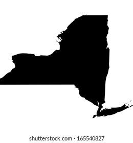 High detailed black illustration map - New York