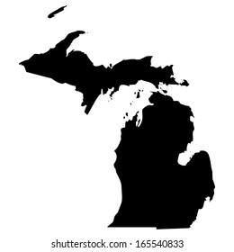 High detailed black illustration map - Michigan