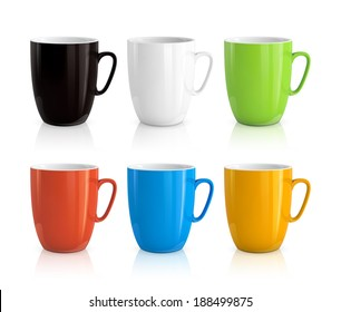 High detailed illustration of colorful cups isolated on white background