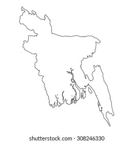 A High detailed Outline of the country of  Bangladesh