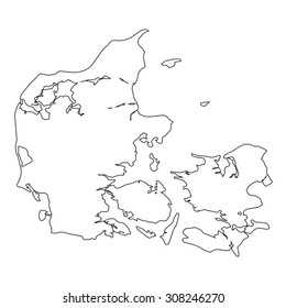 A High detailed Outline of the country of  Denmark