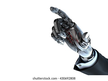 High detailed robotic hand in business suit touching virtual point with index finger. Bionic technology in digital world. 3d rendered image isolated on white background