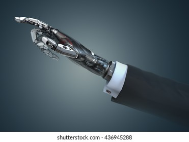 High detailed robotic hand in business suit touching virtual point with index finger. Bionic technology in digital world. 3d rendered image