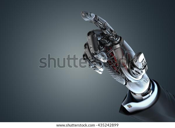 Hoch detaillierte Roboterhand im Business Anzug berührend virtuellen Punkt mit Zeigefinger. Ionentechnologie in der digitalen Welt. 3D-Bild