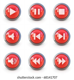 High detailed Set of media player 3d buttons isolated on white