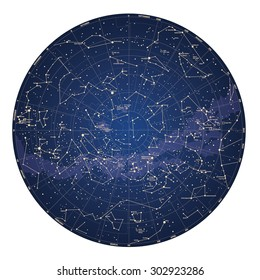 High detailed sky map of Southern hemisphere with names of stars