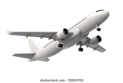 High detailed white airliner, 3d render on a white background. Airplane Take Off, isolated 3d illustration. Airline Concept Travel Passenger plane. Jet commercial airplane.