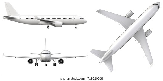 High detailed white airplane, 3d render on a white background. Airplane in profile, from the front and top view isolated 3d illustration Airline Concept Travel Passenger planes set. Jet commercial