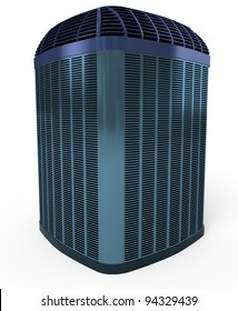 High efficiency modern horizontal AC-heater unit, 3d render isolated on white