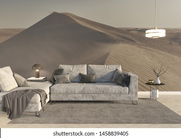 High end luxury italian style grey fabric sofa in a modern living room with a big grey carpet and a custom wallpaper with a desert dune image. 3d rendering