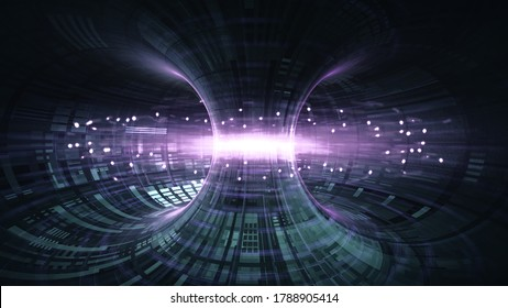 High Energy Particles Flow Through A Tokamak Or Doughnut-Shaped Device. Antigravity, Magnetic Field, Nuclear Fusion, Gravitational Waves And Spacetime Concept, 3d rendering