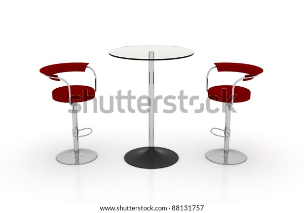 High Glass Top Table W Chairs Stock Illustration 88131757