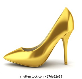 762696c3d746 High heel golden shoe. 3d illustration on white background