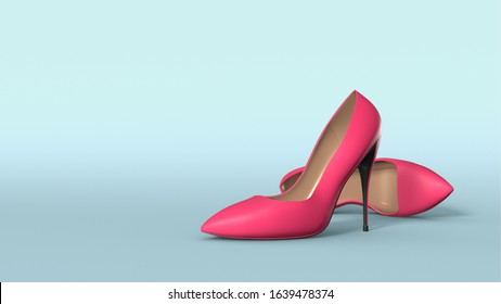 High heel stiletto shoes in pink colour against light blue background. This is a 3D render of stilettos