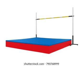 High Jump Landing Mat and Bar Isolated. 3D rendering