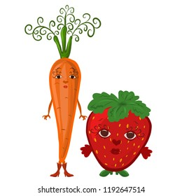 High and low girlfriends, carrots and strawberries with faces